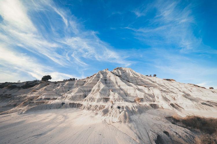 Badlands, landscape of white rocks