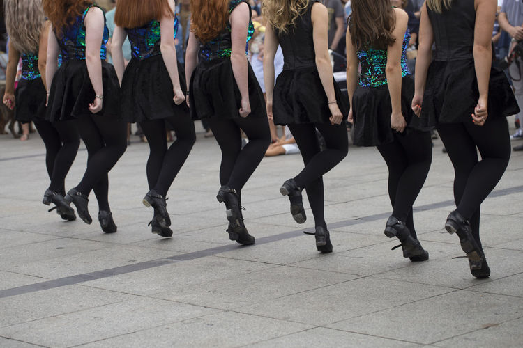 Irish dancers Asturias City Dancing Holiday Horizontal SPAIN Sunny Young Costume Dancer Day Folklore Group Of People Irish Jumping Lifestyles Low Section Outdoors Real People Street Summer Traditional Women