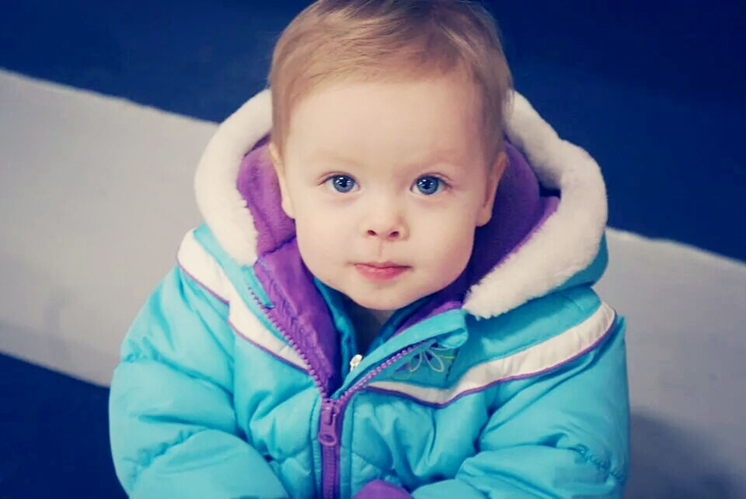 childhood, innocence, elementary age, cute, person, boys, portrait, looking at camera, girls, front view, casual clothing, blue, toddler, babyhood, lifestyles, baby, leisure activity, indoors