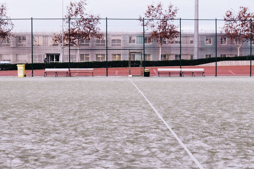 Football Soccer Futbol Field Sport Sports Bench Benches Trees Autumn Autumn Colors Cold Days Snow Landscape View Perspectives Empty Places Minimalism Composition Streetphotography Outdoors Architecture Green Afternoon Walk It's Cold Outside
