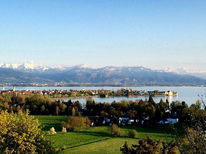 Isle of Lindau, Lake of Constance AlpenLoge Alpenpanorama Beauty In Nature Day Green Color Growth Hill Hoyerberg Idyllic Landscape Lindau Nature Outdoors Scenics Sky Tranquil Scene Tranquility