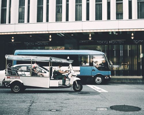 Let's Go. Together. TukTuk Street Tokyo Street Photography Streetphotography Transportation Mode Of Transport Road A Day Of Tokyo Built Structure Architecture From Where I Stand Good Morning! Capture The Moment Still Life Snapshots Of Life From My Point Of View Film Olympus Trip 35 Film Photography Urban Landscape Land Vehicle EyeEm Best Shots - The Streets