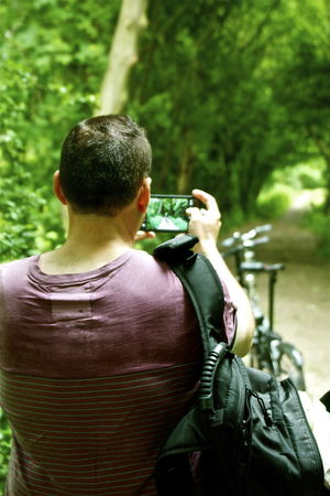 Back Bikes Casual Clothing Cicling Close-up Day Discovering Focus On Foreground Fotographer Headshot Leisure Activity Lifestyles My Love Mónica Nogueira. Naturelovers Normandie France On The Way Outdoors Pause Phonecamera Road Rucksack Sport Traveling