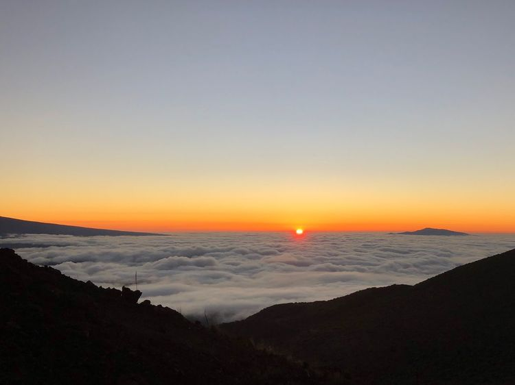 Top Of The Mountains Mauna Kea Observatories Sunset Cloud Sea Cloud Ocean Big Island Sky Sunset Beauty In Nature Scenics - Nature Water Sea Tranquil Scene Tranquility Horizon