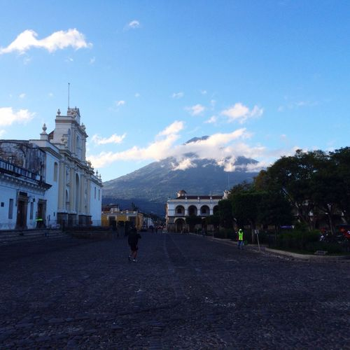 Amanecer en Antigua Guatemala. Building Exterior Architecture Built Structure Sky Travel Destinations Place Of Worship Religion City Outdoors Day Dome No People
