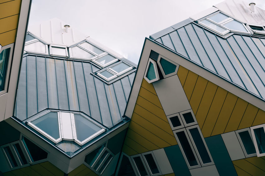 Cubic houses in Rotterdam, low angle view Architecture Architecture Building Building Exterior Built Structure City City Cityscape Cube Cubic Cubic Houses Day Iconic Low Angle View Modern No People Outdoors Residential Building Rotterdam Rotterdam Architecture Sky Staircase Travel Travel Destinations Window