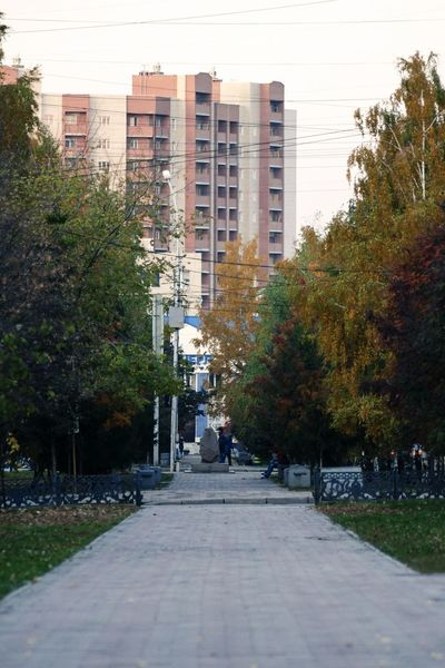 Autumn Alley Trees Building Novosibirsk Novonikolayevsk Siberia Russia