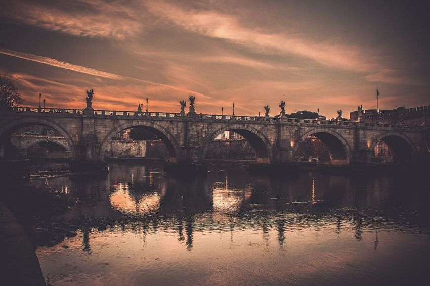 Bridge - Man Made Structure Connection Architecture Sky Reflection Water Built Structure Arch River Transportation Cloud - Sky Nature Sunset Day Outdoors No People City Moving Around Rome