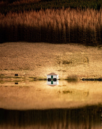 Reflection of boathouse in lake against trees