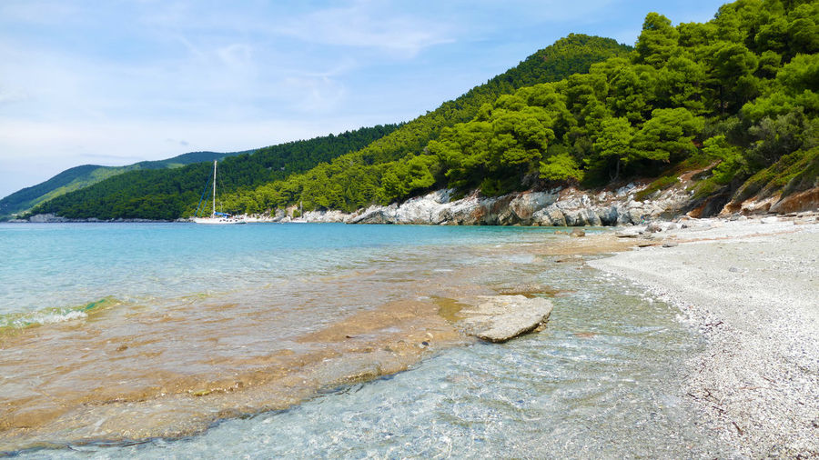 Perfect Bay at Skopelos island Beach Life Hills Bay Beach Beachphotography Beauty In Nature Blue Water Greece Landscape Mountain Mountains Nature Scenics Sea Sea And Sky Seascape Sky Water