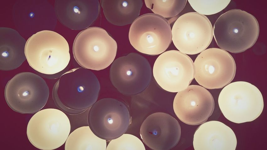 Tea Lights Candles Burning Flame