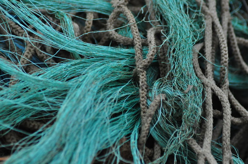 Close-up of fishing nets and ropes