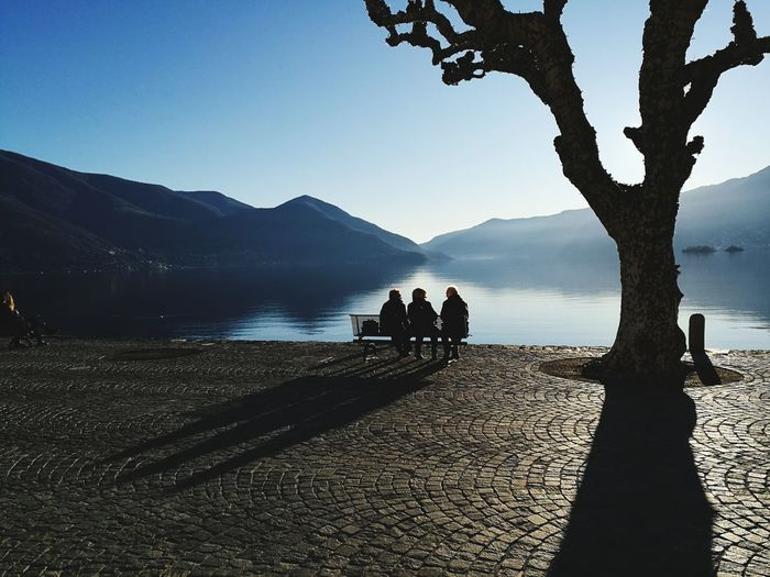 Ascona, Switzerland Silhouette Lake Water Mountain Nature Tranquility Outdoors People Landscape
