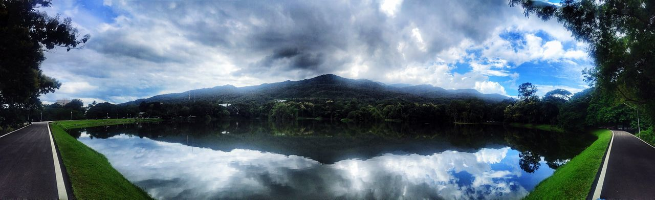 Pano and reflection Reflection Sky Cloud - Sky Water Mountain Tranquil Scene Tranquility Lake Outdoors Scenics Beauty In Nature Day Mountain Range Nature Tree No People Fish-eye Lens Panoramic