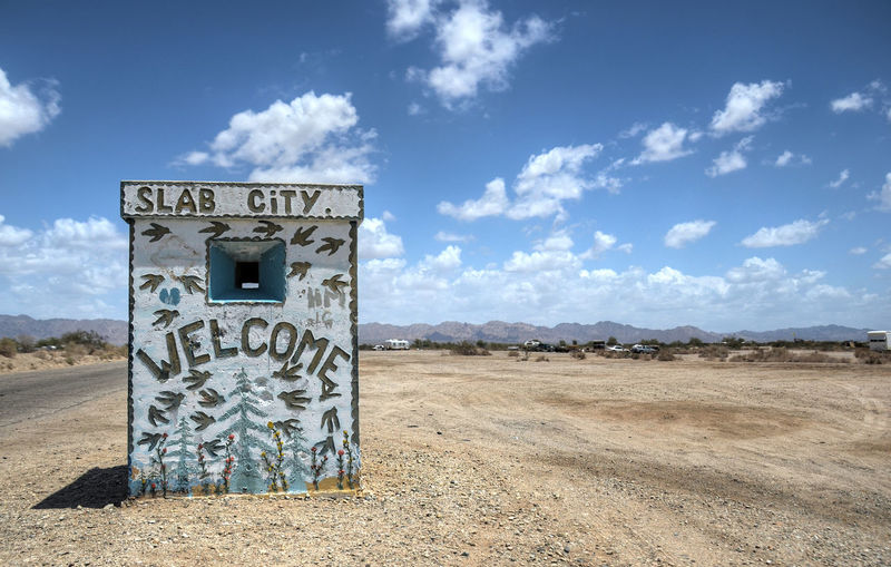 Blue California Cloud Cloud - Sky Empty Landscape No People Outdoors Remote Salton Sea Sky Slab City Streetart Tranquil Scene Tranquility Travel Travel Photography Traveling Welcome