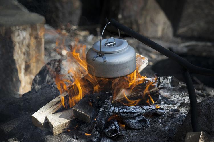 Coffee preparation on wood burning stove