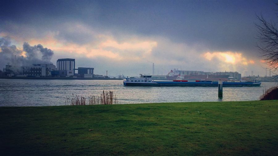 City Water Nautical Vessel Outdoors Boat Dutch Landscape Factory Sunrays Sunray Cloudy Water Harbour River