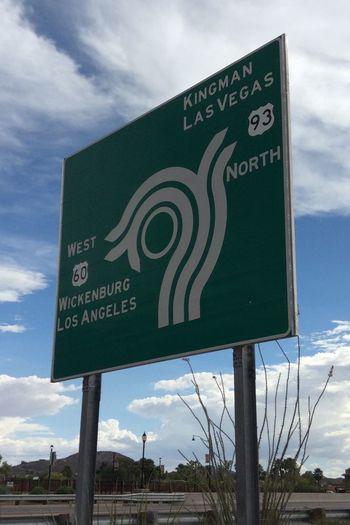Wickenburg L.A. Kingman Las Vegas Way Out West Sign Traffic Roadside Roundabout Sin City Arizona Travels Exploring Nevada California Desert Summer