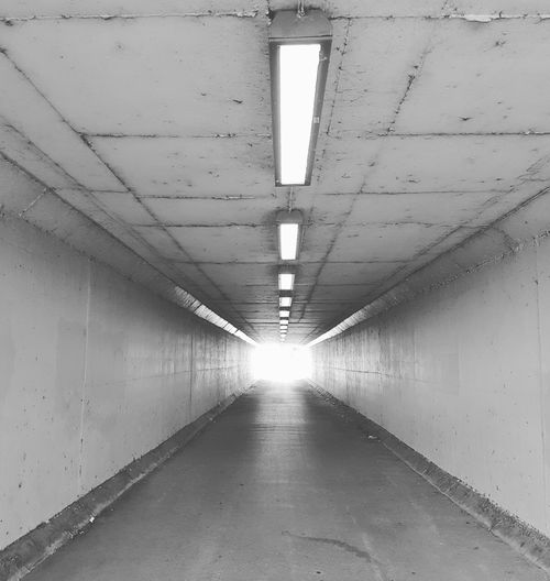 Tunnel Underpass Underpasssubway The Way Forward Built Structure Illuminated Blackandwhite Blackandwhite Photography Perspective No People Architecture