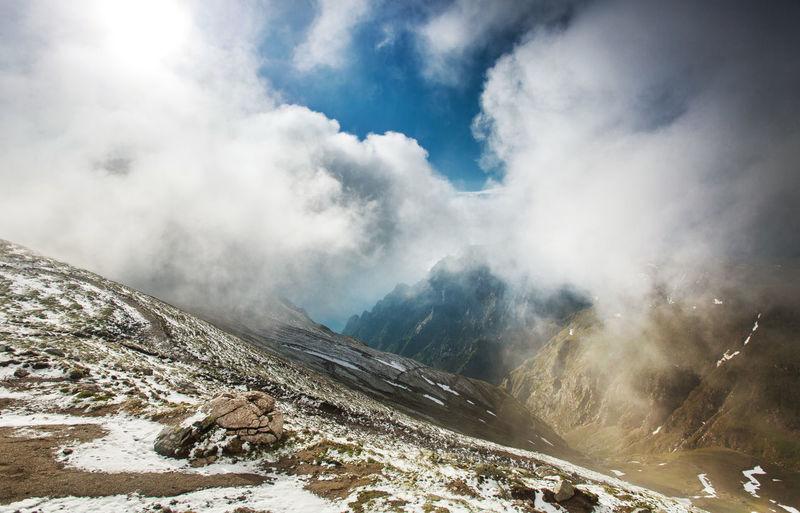 Landscapes from Bucegi Mountains, Romania. Carpathians Cloudy Nature Travel Winter Blue Sky Bucegi Clouds Cold Temperature Hike Landscape Light And Shadow Mountain Mountain Range Mountains No People Snow Spring Valley
