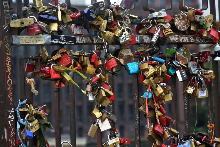 Travel Photography East Side Gallery Berlin Wall Padlock Large Group Of Objects Love Variation Text Choice Hanging Padlock Positive Emotion Multi Colored Day No People Emotion Metal