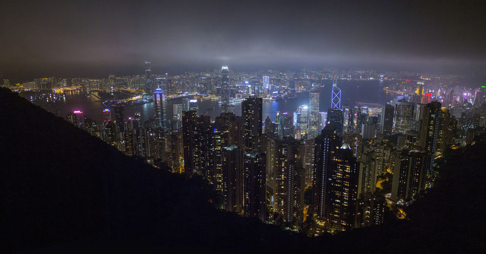 Hong Kong HongKong Aerial View Architecture Building Building Exterior City City Life Cityscape Development Financial District  Illuminated Landscape Modern Nature Night Nightlife No People Office Building Exterior Outdoors Residential District Sky Skyscraper Travel Destinations Urban Skyline