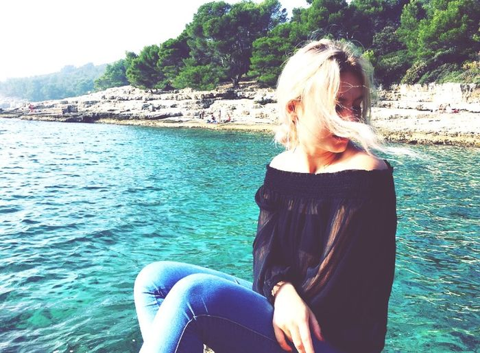 #croatia #ocean One Person Leisure Activity Sea Real People Blond Hair Long Hair Lifestyles Women Nature Outdoors Relaxation Day Young Adult First Eyeem Photo