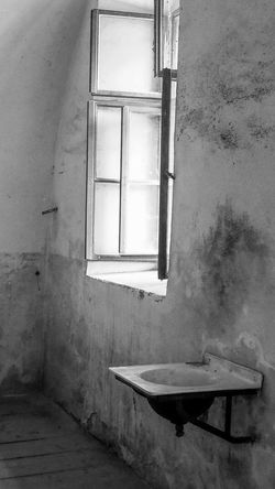Architecture Black & White Black And White Bradley Olson Bradleywarren Photography Building Exterior Built Structure Damaged Day Light Light And Shadow Monochrome No People Old Open Window Sink Wall Wall - Building Feature Wash Washing Weathered Window Window Frame Windows Worn Out