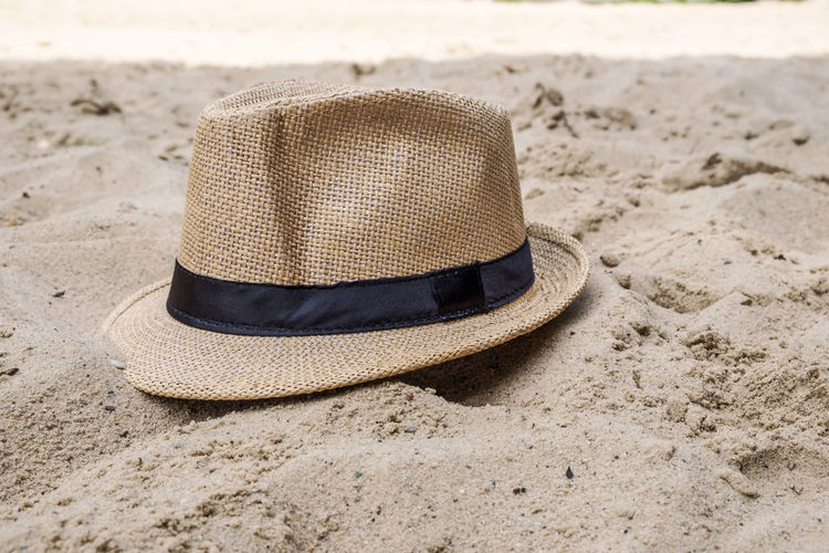 Close-Up Of Hat On Sand At Beach