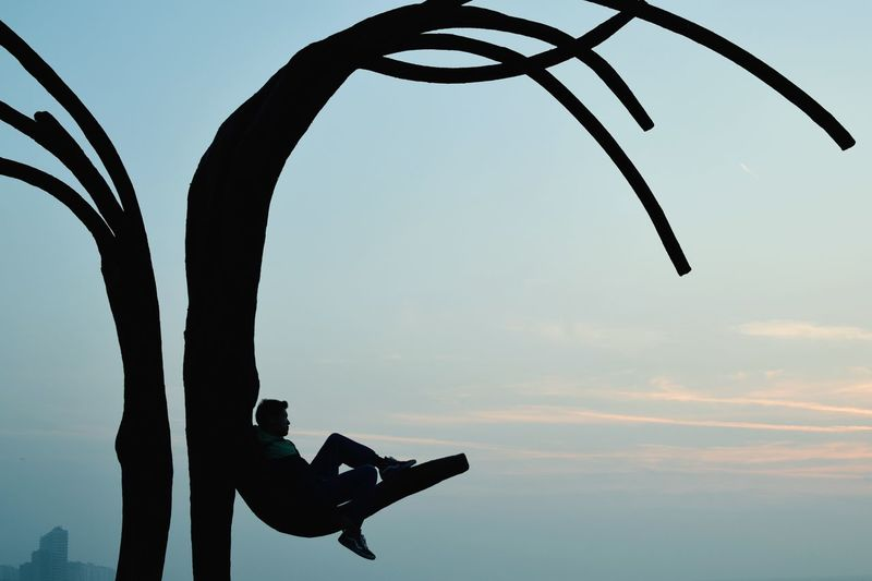 Silhouette Man Sitting On Artificial Tree Against Sky During Sunset