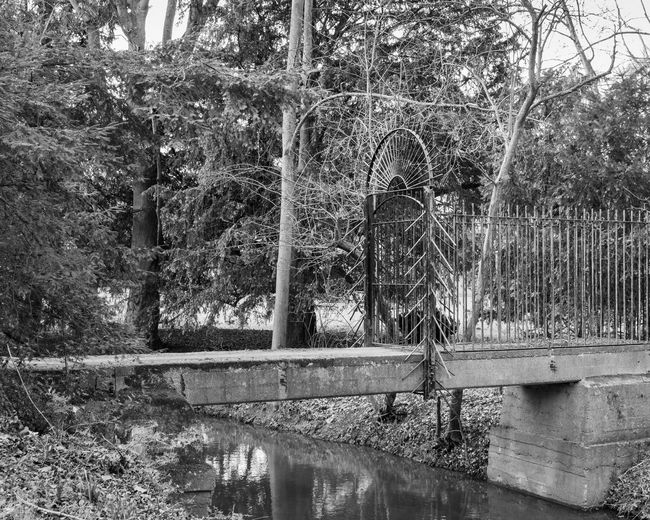 Water Reflection Outdoors Gate Black And White Flowing Water Tranquility Architecture River