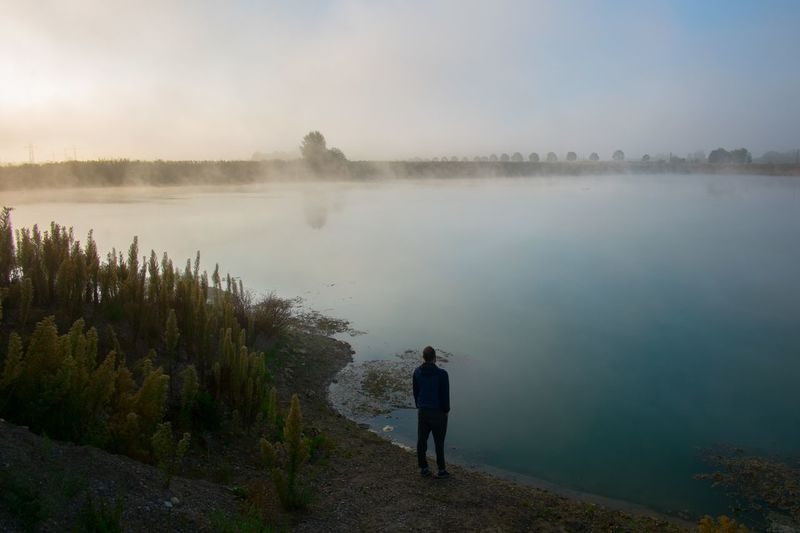 Water Beauty In Nature Lake Scenics - Nature Tranquility Real People A New Beginning Fog Nature Men Leisure Activity Outdoors EyeEmNewHere