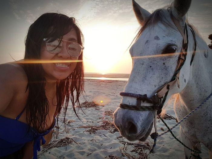 Experiencias increíbles Beach Sunset Sea Sand Sun Vacations Happiness Sky Nature Mexico De Mis Amores Horse <3 Horse Ventanilla Oaxaca
