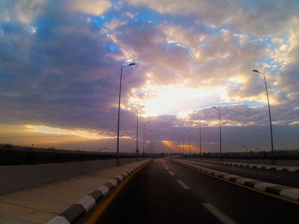 Awesome Sky With Sun Rise High Way Morning Clouds And Sky Clous Sky Street Sunrise