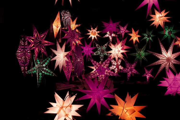 Backgrounds Black Background Chrismas Time Christmas Lights Close-up Dark Decor Decoration Design Full Frame Glowing Illuminated Light Multi Colored Night No People Pink Color Red Season  Star Xmas Decorations Colour Of Life