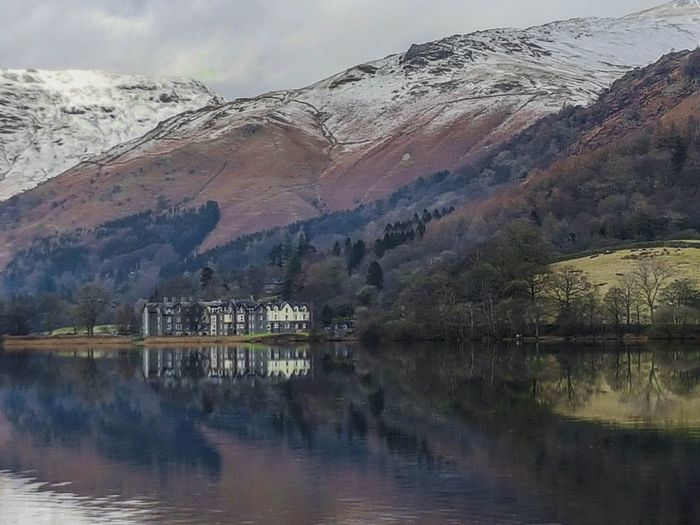 View across Grasmere looking towards the Daffodil Hotel. EyeEm Best Shots Eye4photography  EyeEm Gallery EyeEmBestPics Reflection_collection Reflections In The Water Mountains And Sky Mountain_collection Water Outdoors Dawn Beauty In Nature Landscape