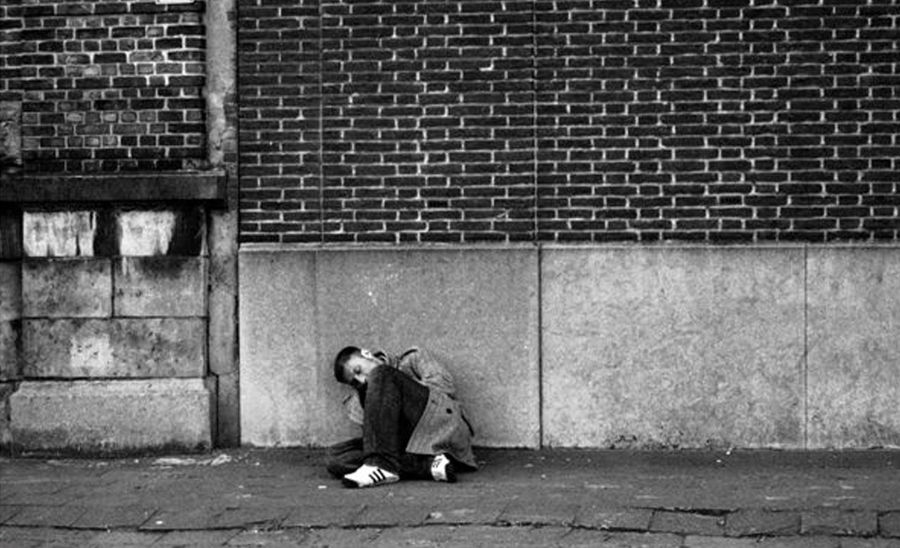 Adult Brick Wall Brussels Building Exterior Day Distress Misery One Man Only One Person Outdoors Sleeping On The Street Social Issues