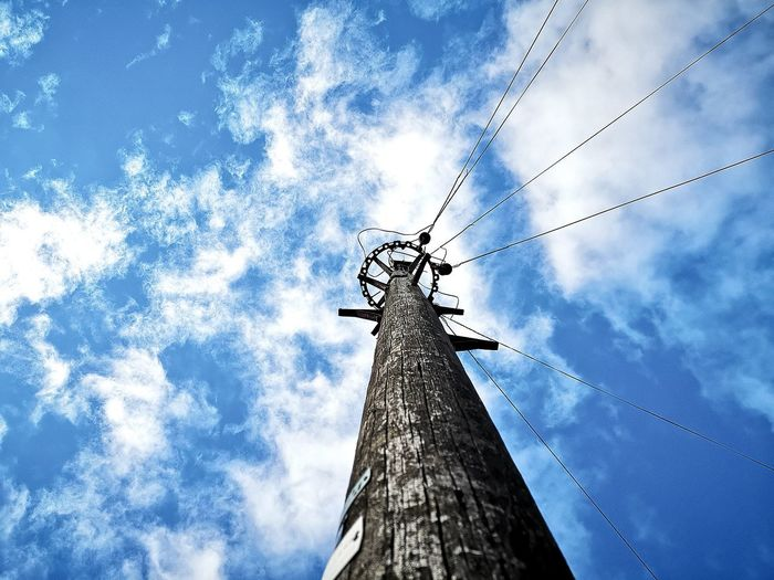 ElectroGod Technology Blue Cable Sky Cloud - Sky Telephone Pole Telephone Line Phone Cord Power Supply Electric Pole Electricity Pylon Power Cable Power Line