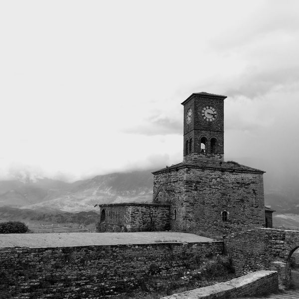 Albania Gjirokaster Castle Tower Clock Foggy Clocktower Black & White Mountains Fogg