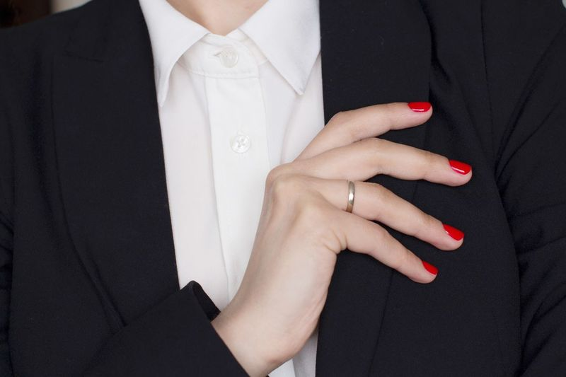 Young woman in black suit with red manicure Wife Ring Weading Arms Crossed Business Woman Strongwoman Office Power Black And White Blackandwhite Classical Style Working Hard Stylish Boss Menswear White Shirt Midsection Human Hand One Person Nail Adult Nail Polish Hand Close-up Clothing Women Red Ring Fashion Red Nail Polish