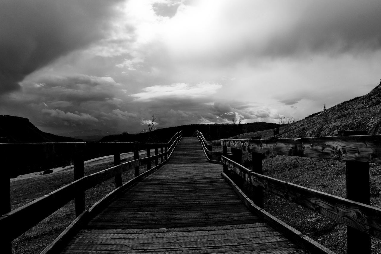 railing, cloud - sky, the way forward, sky, bridge - man made structure, outdoors, footbridge, no people, day, nature, scenics, beauty in nature