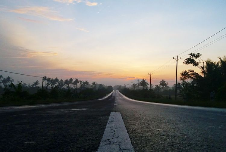 Road Sunset The Way Forward Highway Tree Cloud - Sky Sky No People Landscape Outdoors