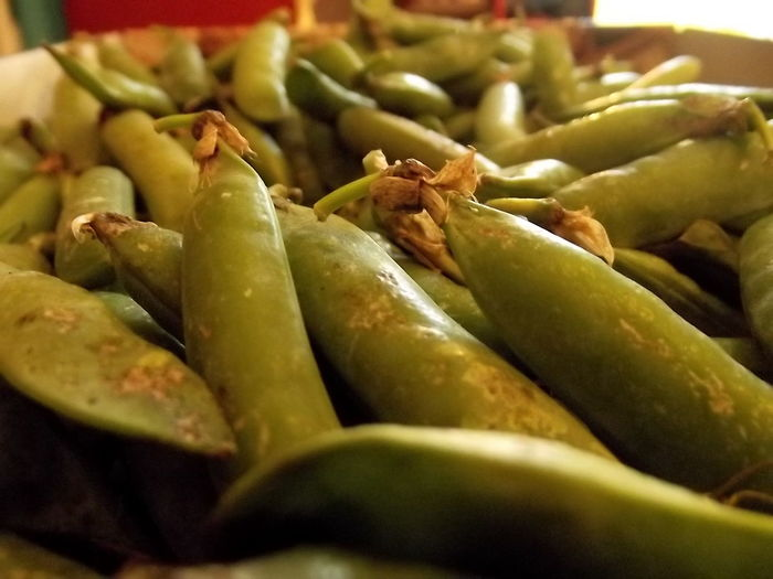 Close-up of green peas for sale