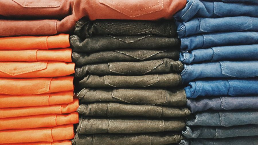 Beautifully Organized Clothing Stack Pattern Close-up Full Frame Backgrounds No People Indoors  Day