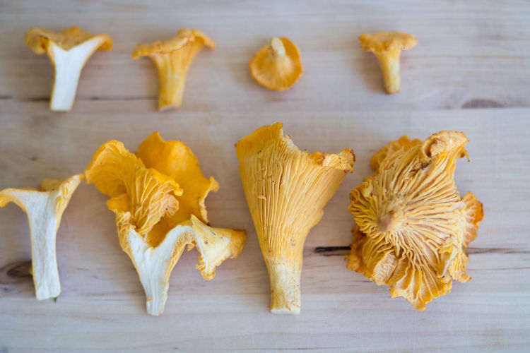 Autumn Golden September Chanterelles Close-up Cutting Board Directly Above Edible Mushroom Food Freshness Golden Chanterelle Group Of Objects Healthy Eating High Angle View Indoors  Mushroom No People Still Life Table Vegetable Wellbeing Wood - Material Yellow