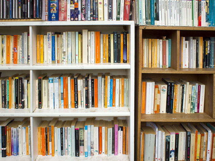 Paperback books on shelves Arrangement Book Books Choice Close Up Collection Education Full Frame In A Row Indoors  Library Literary Literature No People Novels Order Paperback Paperbacks Pattern Reading Reading Books Shelf Shelves