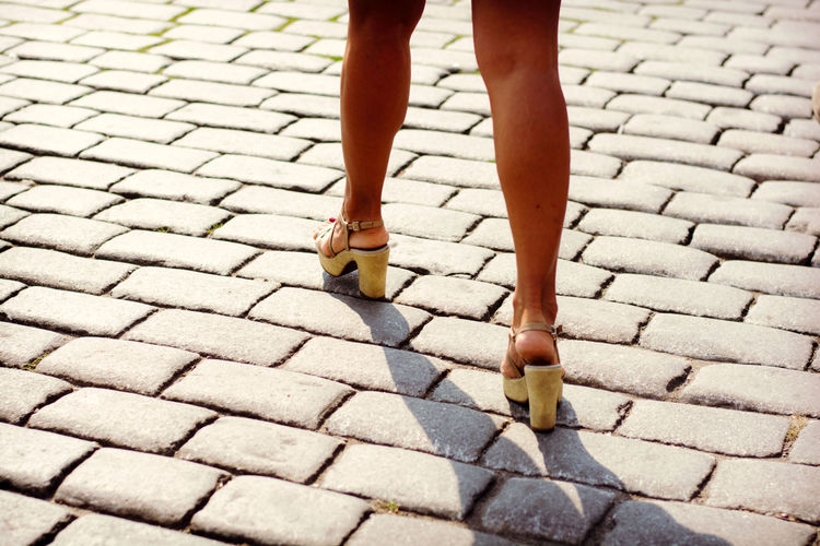 Cobblestone Day Footpath Human Foot Legs Low Section Outdoors Paving Stone Person Sexygirl Sexylegs Standing Stone Material Walking