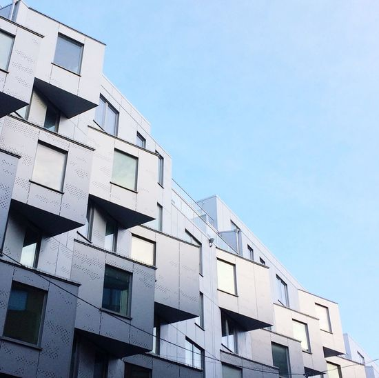 Modern housing Building Exterior Architecture Built Structure Low Angle View Window Outdoors No People City Life Residential Building City Sky Apartment Clear Sky Day