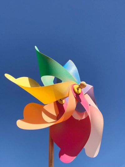 Multi Colored Blue No People Nature Art And Craft Sky Low Angle View Clear Sky Pinwheel Toy Craft Creativity Paper Single Object