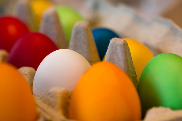 Close-up of colorful easter eggs in crate